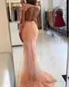 Illusion Lace Applique Long Sleeve Floor-Length Mermaid Formal Dress
