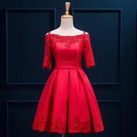 dacd8eb8b7f Lovely Simple Peach Knee Length A-Line V Neck Satin Homecoming Dress ...