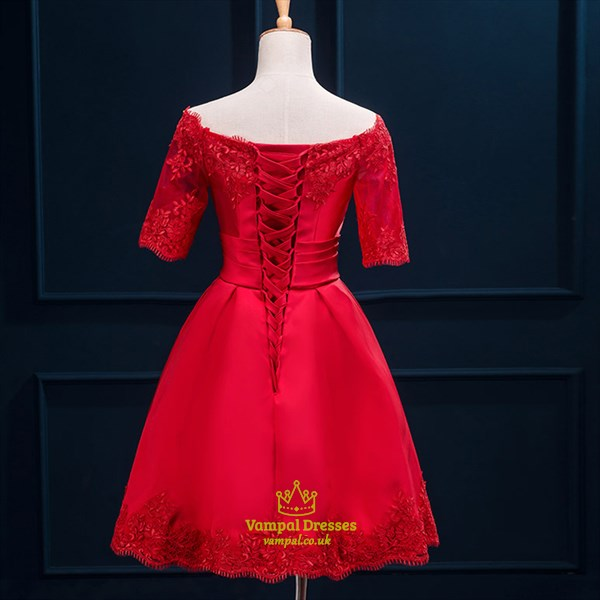 Red A-Line Knee Length Off-The-Shoulder Half Sleeve Homecoming Dress