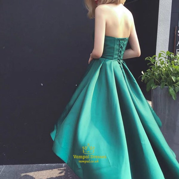 Emerald Green Strapless Sweetheart High Low A-Line Long Prom Dress