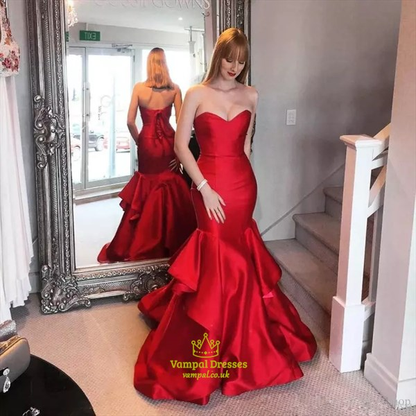 Trumpet/Mermaid Burgundy Strapless Floor-Length Ruffled Evening Dress