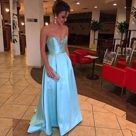 Elegant Strapless A-Line Satin Long Formal Dress With Beaded Neckline