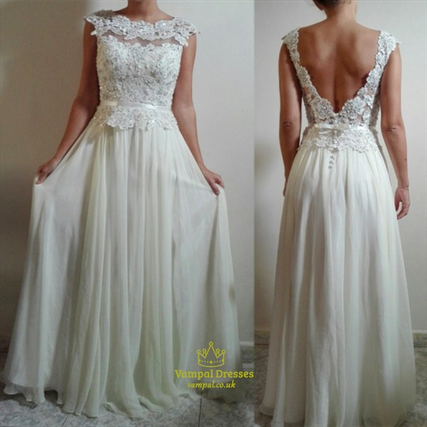 White Cap Sleeve Peplum Lace Bodice Chiffon Prom Dress With Open Back