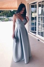 Light Blue Open Back Spaghetti Strap A-Line Floor-Length Formal Dress