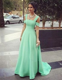 Elegant Simple Mint Green Square Neck A-Line Floor Length Prom Dress
