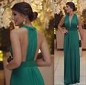 Floor-Length Emerald Green Sleeveless Deep V Neck Ruched Evening Dress