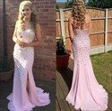 Pink Strapless Sweetheart Neck Beaded Chiffon Evening Dress With Slits