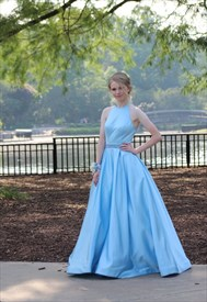 Sky Blue Elegant A-Line Halter Sleeveless Satin Ball Gown Prom Dress