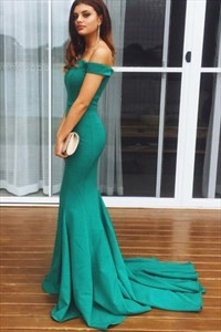 Elegant Emerald Green Mermaid Floor Length Off-The-Shoulder Prom Dress