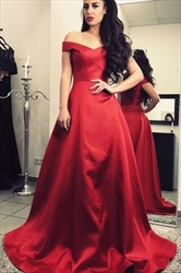 A-Line Burgundy Off-The-Shoulder V-Neck Satin Ball Gown Prom Dress