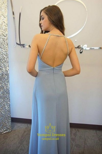Light Blue Beaded Spaghetti Strap Open Back Chiffon Long Evening Dress
