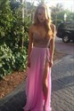 Hot Pink Strapless Beaded Bodice Evening Dress With Chiffon Overlay
