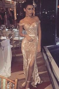 Sparkly Sequin Off-The-Shoulder Floor-Length Prom Dress With Split