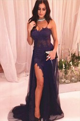 Eggplant Strapless Sweetheart Lace Tulle Prom Dress With Side Slit