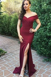 Off The Shoulder V-Neck Burgundy Long Evening Dress With Leg Split