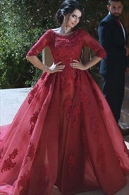 Burgundy Half Sleeve Lace Embellished A-Line Ball Gown With Long Train