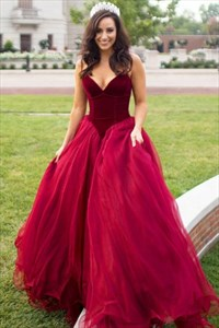 Elegant Strapless V-Neck Burgundy A-Line Prom Dress With Tulle Skirt