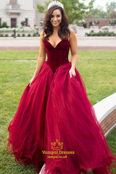 Elegant Strapless V-Neck Burgundy A-Line Prom Dress With Tulle Skirt ... 3a5f5ff0f