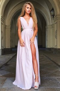 Sleeveless Plunging V-Neck A-Line Chiffon Maxi Dress With Side Split