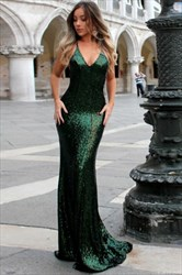 Emerald Green Sequin Spaghetti Strap Mermaid Prom Dress With Open Back