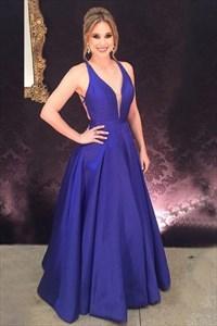 Purple Sleeveless Deep V-Neck A-Line Long Prom Dress With Open Back