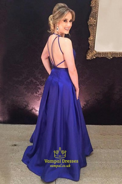 Purple Sleeveless Deep V-Neck A-Line Long Prom Dress With Open Back