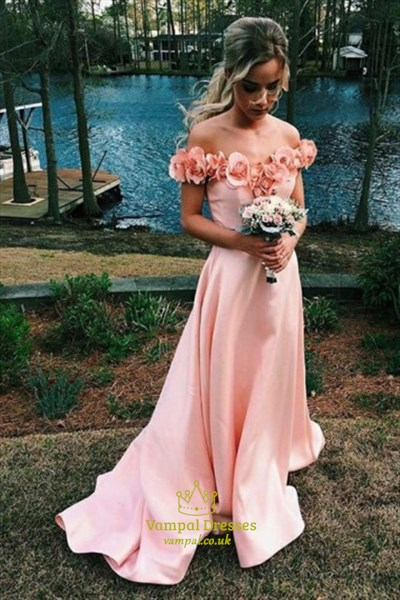 A-Line Off-The-Shoulder Floor-Length Satin Prom Dress With Flowers