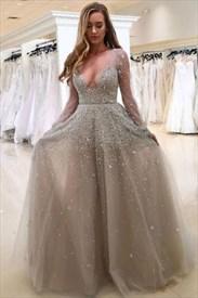 Illusion Sheer Long Sleeve Deep V-Neck A-Line Jeweled Formal Dress