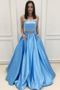 Aqua Blue Two-Piece Strapless Sleeveless Satin Prom Dress With Pockets