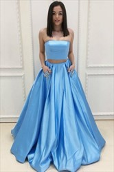 Aqua Blue Two-Piece Strapless Sleeveless Satin Prom Dress With Pockets