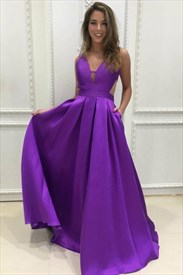 Purple Sleeveless A-Line Deep V-Neck Long Prom Dress With Cutouts