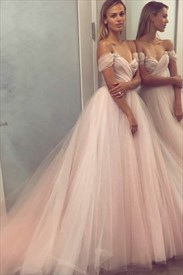 Elegant Pale Pink Off-The-Shoulder Ruched Tulle A-Line Formal Dress