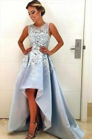 Sleeveless Lace Embellished A-Line High Low Satin Long Formal Dress