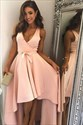 Lovely Peach Sleeveless Plunge V-Neck A-Line High Low Cocktail Dress