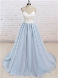 Two-Tone Simple Spaghetti Strap Backless Floor-Length Satin Ball Gown