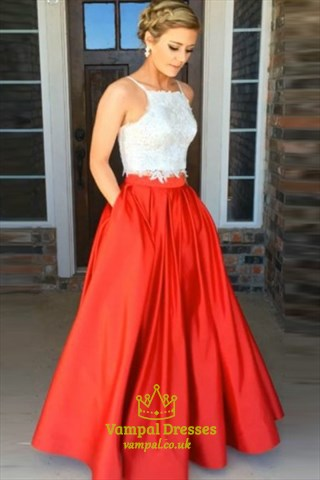 Red And White Sleeveless Lace Bodice A-Line Satin Long Formal Dress
