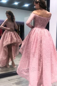 Lovely Lace Off Shoulder Long Sleeve A-Line High-Low Homecoming Dress