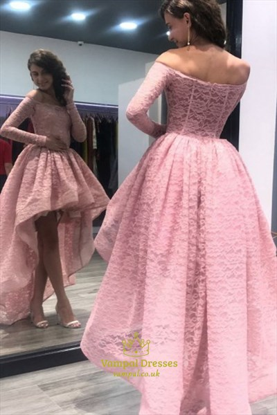 new season 2019 clearance sale fast color Lovely Lace Off Shoulder Long Sleeve A-Line High-Low Homecoming Dress SKU  -FS3196