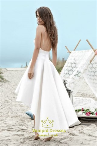 A-Line Spaghetti Strap High Low Long Cocktail Dress With Open Back
