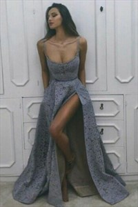 Grey Sleeveless Scoop Neckline Lace Long Prom Dress With Side Split