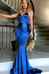 Elegant Royal Blue Sleeveless V-Neck Floor-Length Mermaid Evening Gown