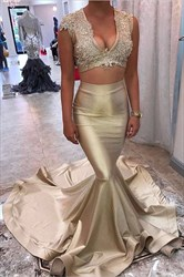 Champagne Two-Piece Cap Sleeve V-Neck Mermaid Prom Dress With Lace