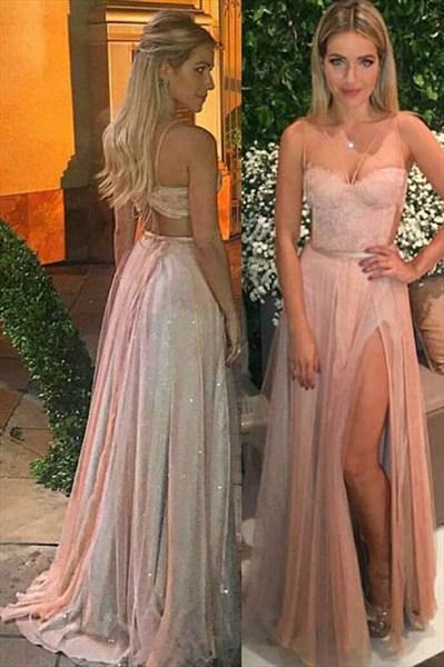 Sleeveless A-Line Cut Out Waist Chiffon Long Prom Dress With Slits