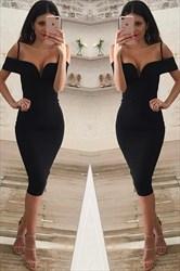 Elegant Black V-Neck Cold Shoulder Tea Length Bodycon Cocktail Dress