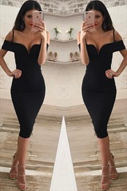 Elegant Black V-Neck Cold Shoulder Tea Length Bodycon Cocktail Dress
