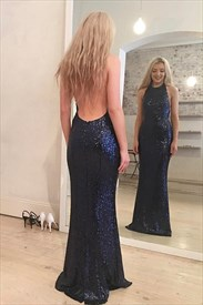 Navy Blue Sequin Halter Neck Sleeveless Long Prom Dress With Open Back