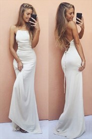 Ivory Elegant Simple Spaghetti Strap Floor-Length Chiffon Prom Dress