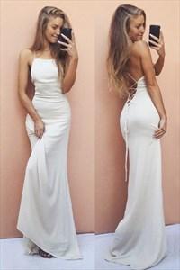 Ivory Elegant Simple Spaghetti Strap Floor-Length Chiffon Prom Dress