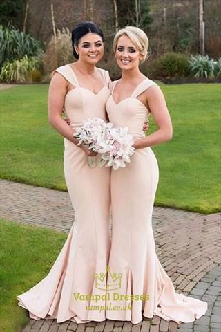 Peach Sleeveless Sweetheart Neck Floor-Length Mermaid Bridesmaid Dress