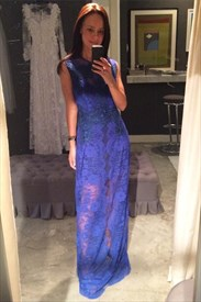 Simple Royal Blue Sleeveless Floor-Length Lace Overlay Formal Dress
